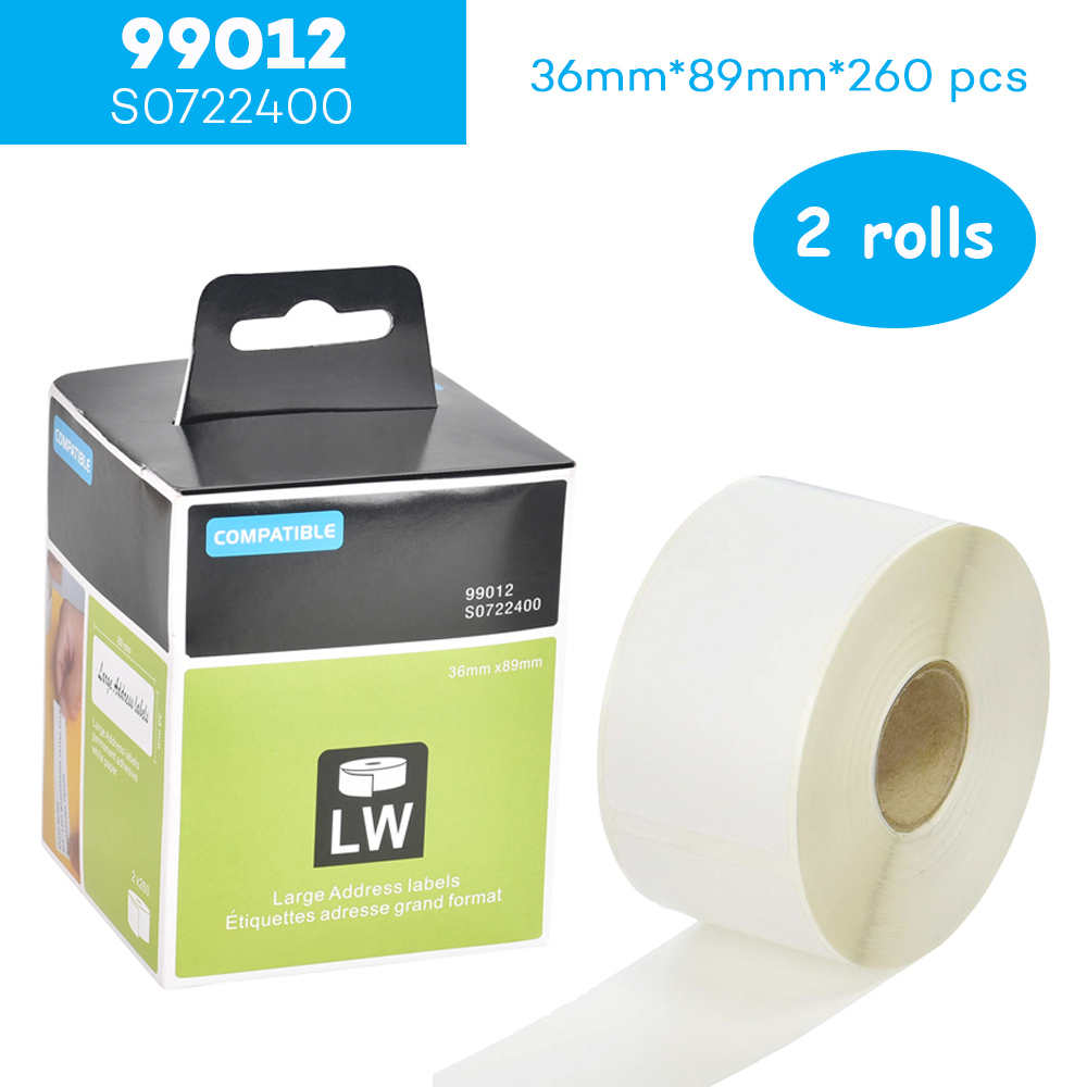 CIDY 2 ROLLS 99012 For Dymo Labelwriter 450 Label Printer Label Maker Tapes Address Sticker 89mm*36mm Label Writer Plastic