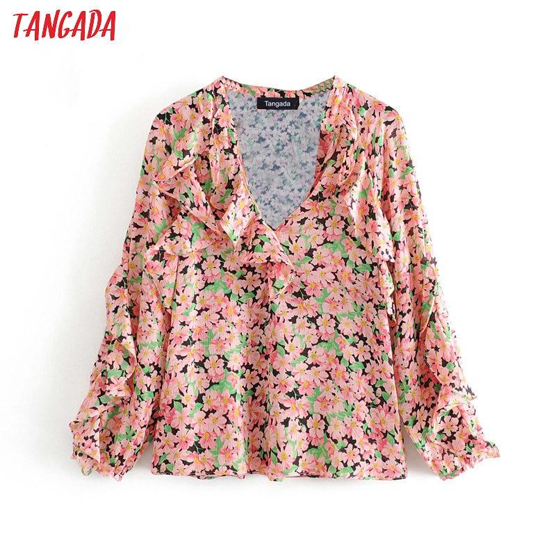 Tangada Women Ruffles Floral Print Blouse Long Sleeve Chic 2020 Fashion Female Casual Loose Shirt Blusas Femininas 3H243