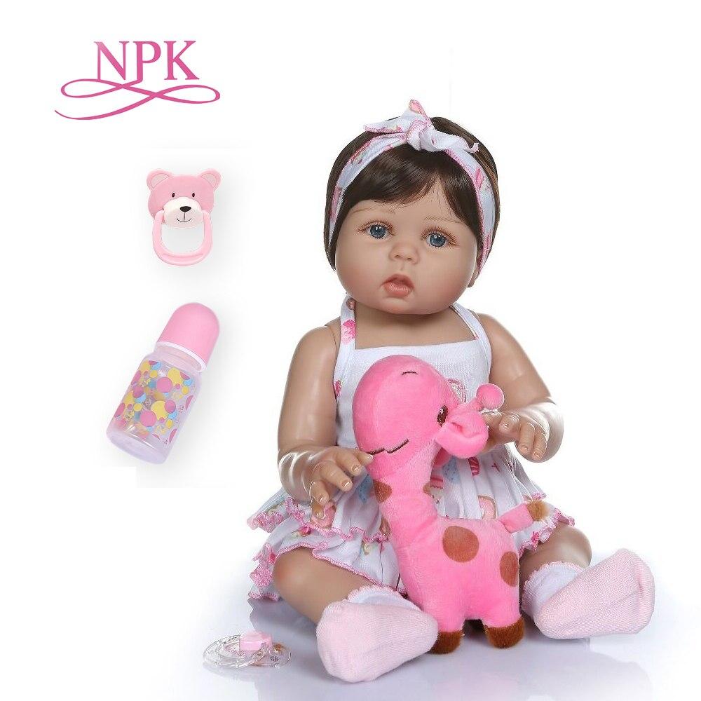 NPKCOLLECTION 47CM newborn bebe doll reborn baby girl doll in tan skin full body silicone Bath toy dolls Xmas Gfit(China)