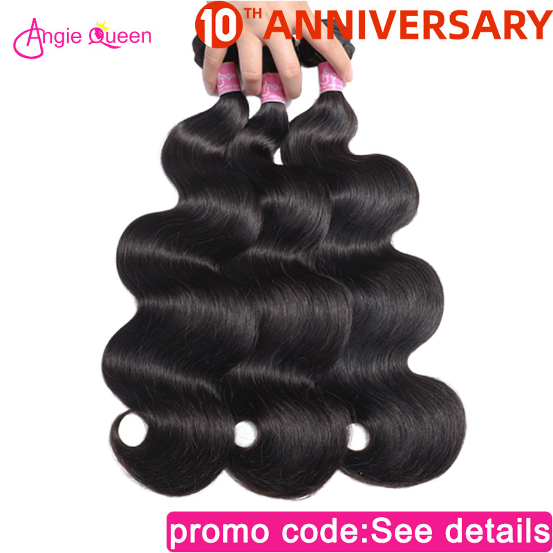 ANGIE QUEEN Brazilian Hair Body Wave Hair Bundle Virgin Human Hair Weave Natural Color NonRemy Hair 3 Bundle Deal Hair Extension