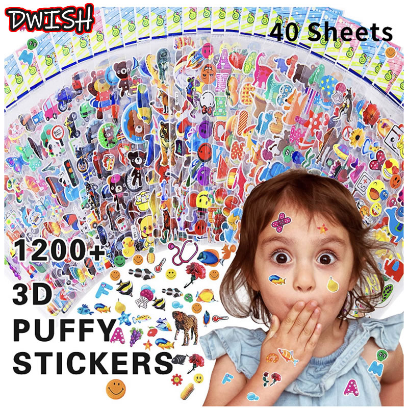40pcs 3D Puffy Bubble Stickers Cartoon Animal Funny Waterproof PVC Different Sticker Children Scrapbooking Girl Boy Kid DIY Gift