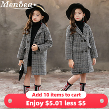Menoea女子コート 2020 秋と冬の韓国語バージョングレーのチェック柄千鳥格子上着ビッグ子供のウールのコートの服