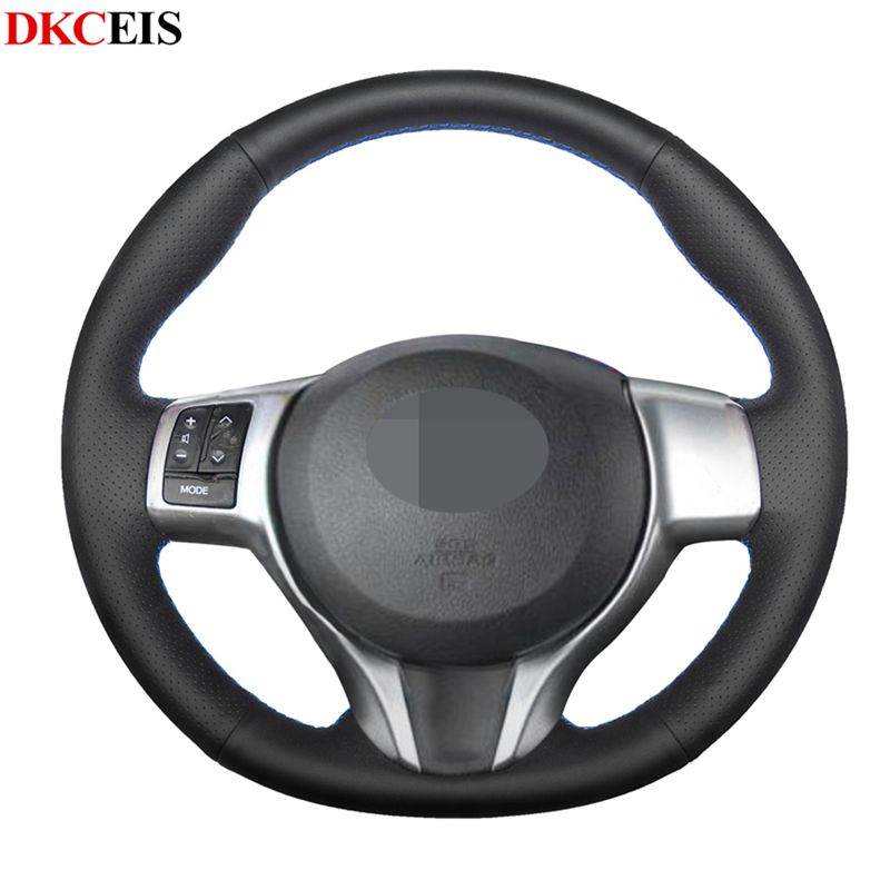 DIY Hand stitched Black Soft PU Artificial Leather Steering Wheel Cover for Toyota Yaris 2018 2017 2012 2016 2013 2014 2015 Steering Covers     - title=