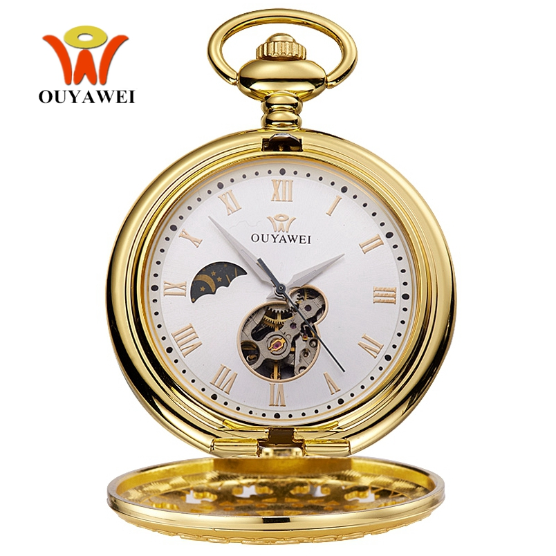 OYW Hand Winding Mechanical Men Pocket Watch Steampunk White Skeleton Dial Steel Necklace Pendant Fashion Chain Fob Watches Gift