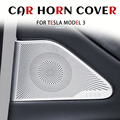 For Tesla Model 3 2017 2018 2019 2020 2021Accessories Front Column Roof Horn Hood Model3 Speaker Cover Decorative Sequins