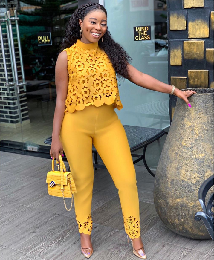 Two Piece Set African Dresses For Women Dashiki Fashions Ensemble Femme 2 Pieces Suit Clothes 2019 Bazin Robe Africaine Clothing