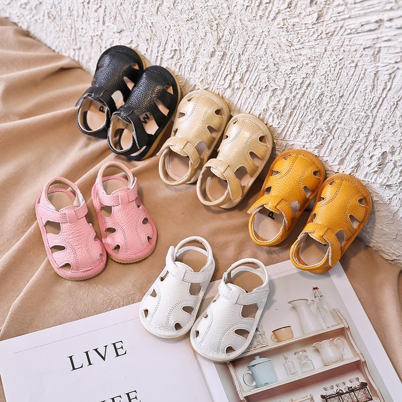 Baby Girls Boys Summer Sandals Soft Bottom Genuine Leather Kids Children Beach Sandals Infant Anti-collision Toddler Shoes