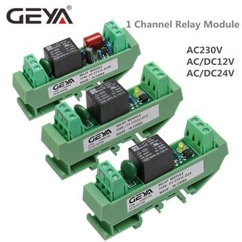 цена на GEYA 1 Channel Relay Module AC/DC 24V 12V 230VAC Din Rail Mounted GSM Relay Control Timer Module
