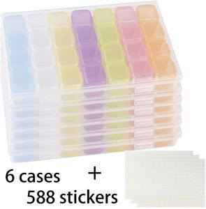 6 Pack 28 grilles en plastique artisanat organisateur boîtier diamant boîte de rangement avec 588 pièces autocollants Nail Art strass, bijoux, diamant