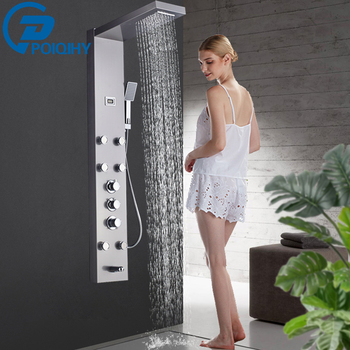 Brushed Thermostatic Shower Panel Column Stainless Steel Panel Tower Rain Waterfall Shower head With Jets Spa BathTub Spout 1