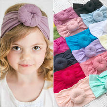 купить 21 Color Toddler Girls Kids Baby Big Bow Hairband Headband Stretch Turban Knot Head Wrap Knot Head Headwear Black White 0-4 T онлайн