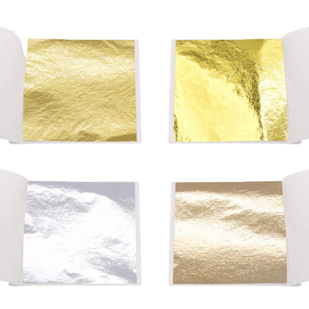 100X Gold/Silver/Copper Foil Double Sided Paper Decoration Leaf Leaves Sheets Gilding DIY Crafts Decor Design Paper 9*9 cm