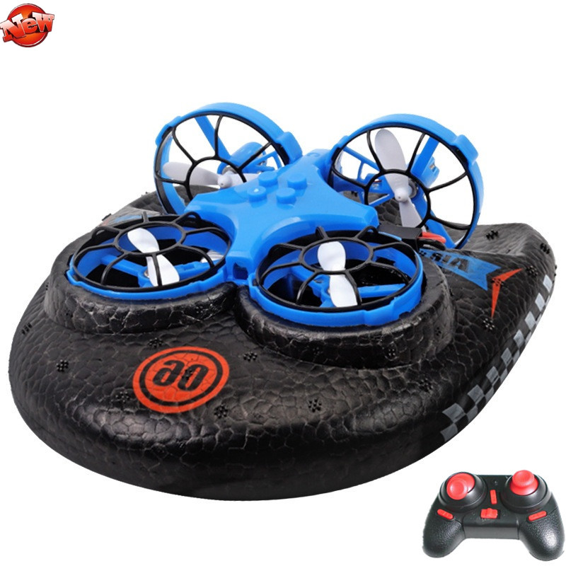 Multifunction Water Land Air 3 To 1 Electric Remote Control RC Hovercraft 2.4G High Speed Land/Water Driving Sky Fly RC Boat Toy