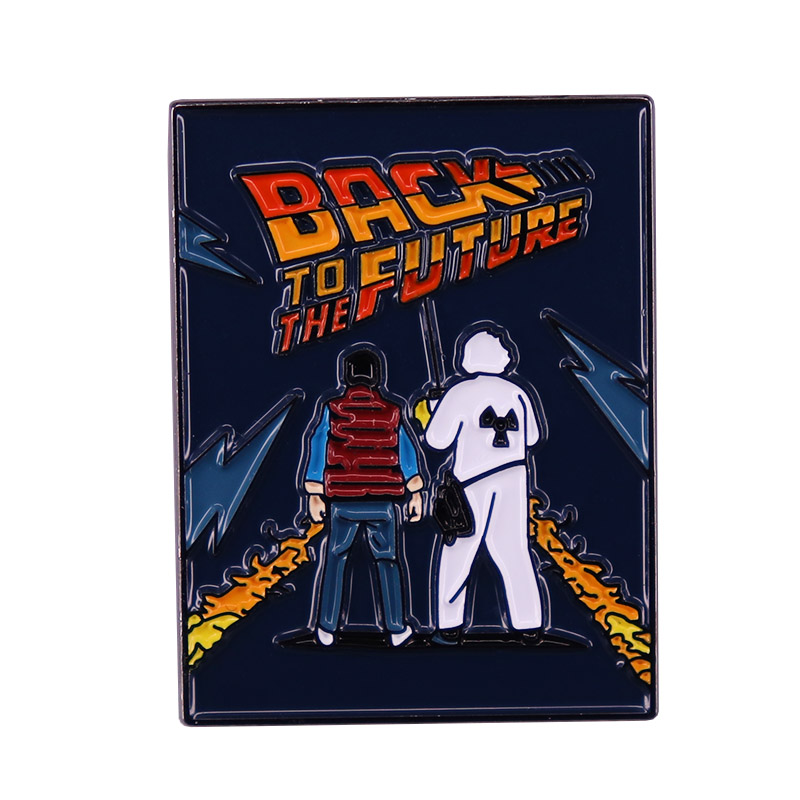 Back To The Future Poster Enamel Pin Classic Movie Marty McFly Doc Brown Brooch Metal Badge Sci-fi Movies Cool Accessories