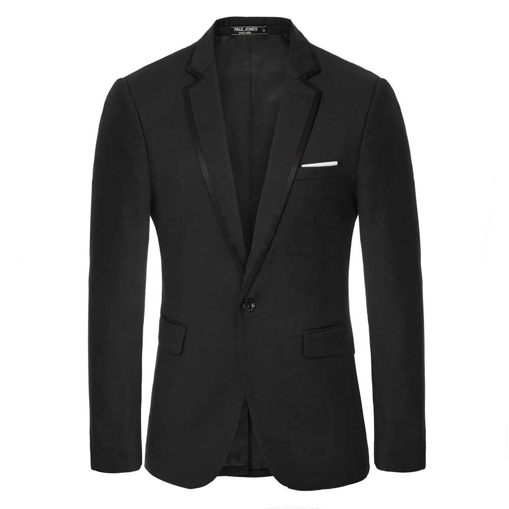 Men's Contrast Strips Decorated Blazer Coat One-Button Notch Lapel Back Split Formal Evening Party Office Work Blazers Men