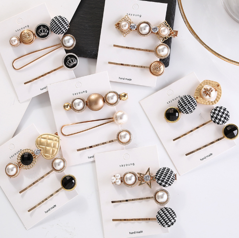 1SET Japan Fashion Hair Accessories Houndstooth Button Imitiation Pearl Hair Clips Metal Heart Star Crystal Hairpin Barrett
