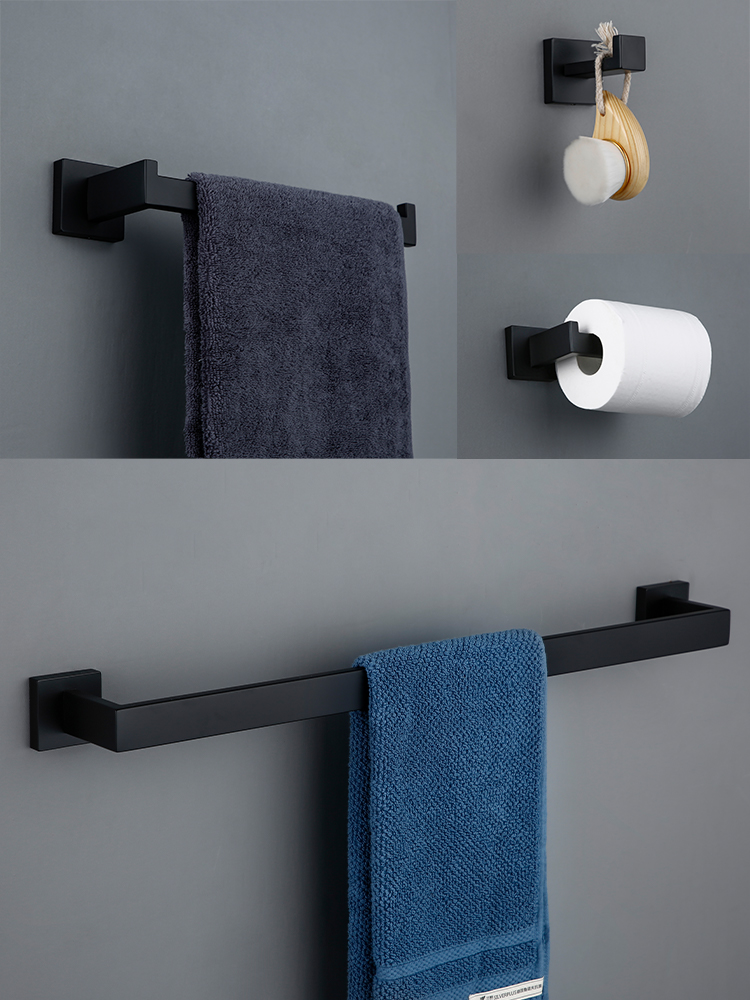 Hook Paper-Holder Bar-Shelf Rail-Bar-Rack Robe Towel Bathroom-Hardware-Set Tissue Black
