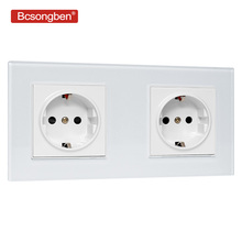 Bcsongben EU Standard wall Power Socket Manufacturer of 16A Grounded Electrical Wall Outlet Crystal Glass Panel AC 110~250V livolo eu standard wall power socket white crystal glass panel manufacturer of 16a wall outlet vl c7c2eu 11