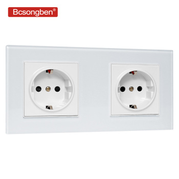 Bcsongben EU Standard wall Power Socket Manufacturer of 16A Grounded Electrical Wall Outlet Crystal Glass Panel AC 110~250V eruiklink eu standard 2 gang wall power socket white crystal glass panel ac110v 250v 16a wall outlet