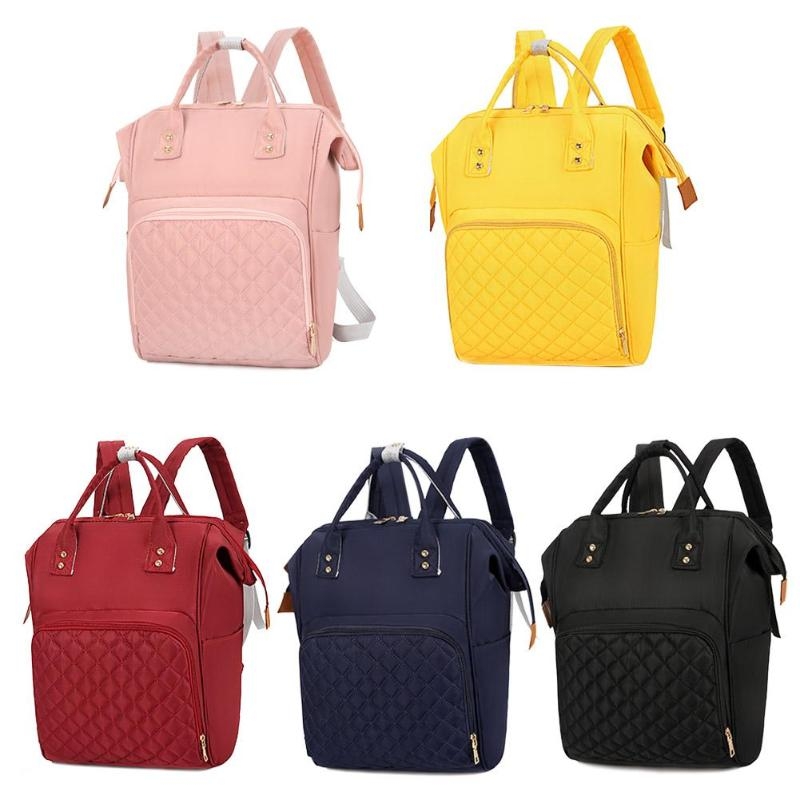 Pure Color Mommy Travel Backpacks Big Nylon Maternity Nappy Top-handle Bags