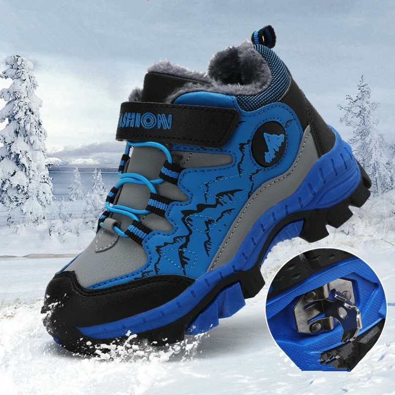 New Fashion Winter Children's Snow Boots Boys Girls Fashion Waterproof Warm Shoes Teenagers Non-Slip Climbing Sneakers EU 30- 40