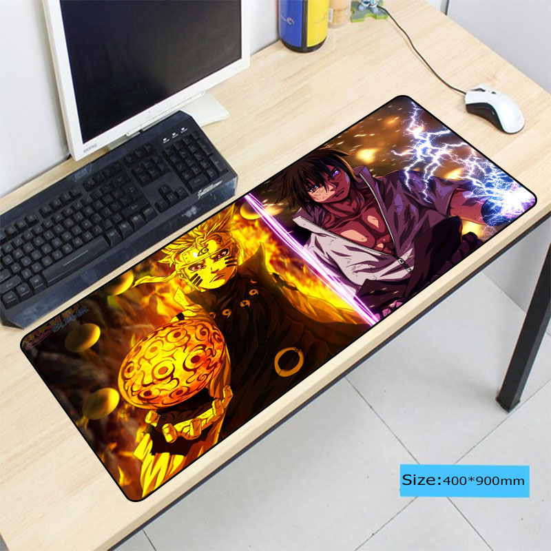 Naruto Anime Pad To Mouse Notbook Computer Large Lock Edge Mousepad Gaming Padmouse Gamer To Laptop 90x40cm Mouse Mats