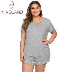Image 2 - Women Plus Size Sleepwear Pajamas Scoop Neck Short SleeveTops Elastic Waist Shorts Summer Pajama Set Nightwear