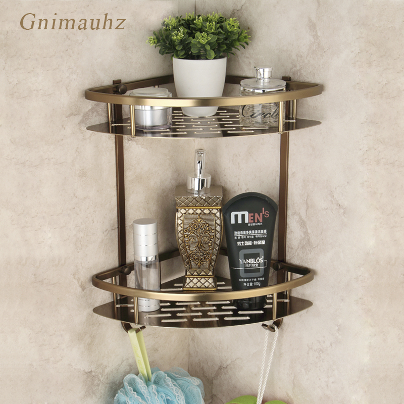 Antique Bronze Bathroom Two Layers Basket Corner Shelf Triangular Shower Rack, Aluminum European Style Bathroom Accessories