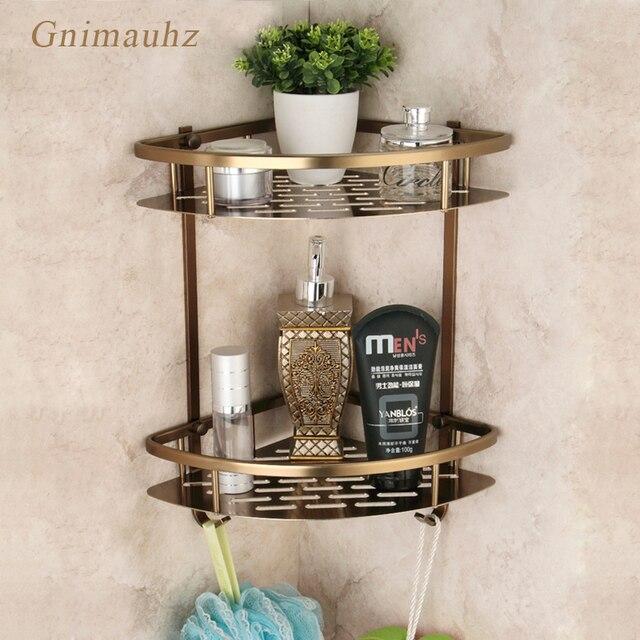 Mensola triangolare per doccia triangolare a due strati con cestello da bagno in bronzo antico, accessori da bagno in stile europeo in alluminio