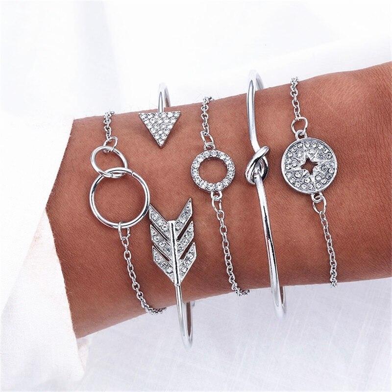 Bohemian 5 Piece Set Arrow Crystal Round Bracelet Ladies New Retro Bracelet Women Fashion Jewelry 2019 Wholesale(China)