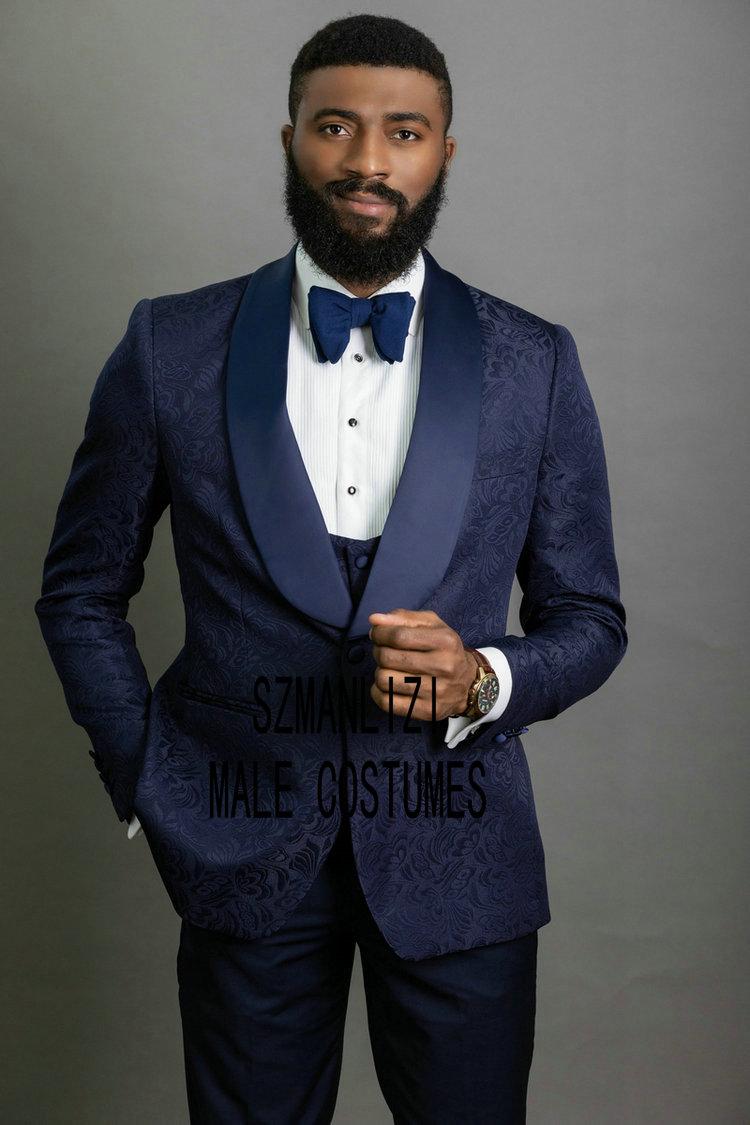 New Groomsmen Tuxedos Navy Blue Jacquard Men Suit Set Groom For Wedding Prom Formal Mens Suits 3 Piece Best Man Blazer 2020