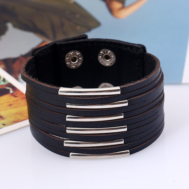 Punk Leather Bracelet Hand...