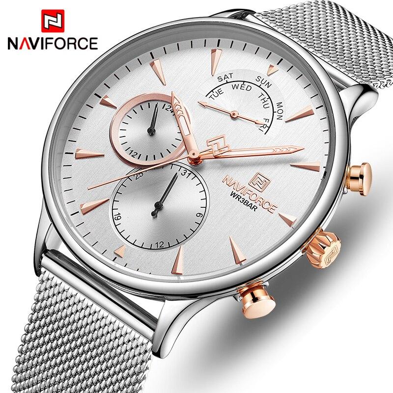NAVIFORCE Men's Watch Top Luxury Brand Fashion Casual Quartz Clock Men Slim Mesh Steel Waterproof Sport Date Male Wrist Watch
