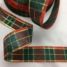 Tartan Ribbon Handmade Bows Christmas-Deco Lurex Floral-Packing Gingham Wedding Scottish-Tape