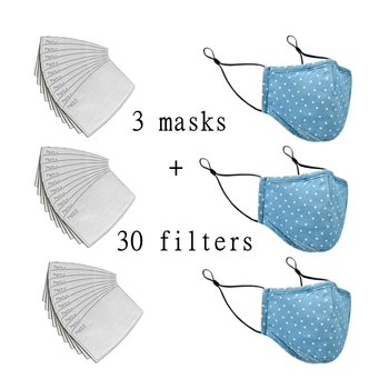 Unisex Masks Activated Carbon Filter PM2.5 Mouth Mask Cotton Washable Reusable Adjust Face Protection 5- Layer Filter