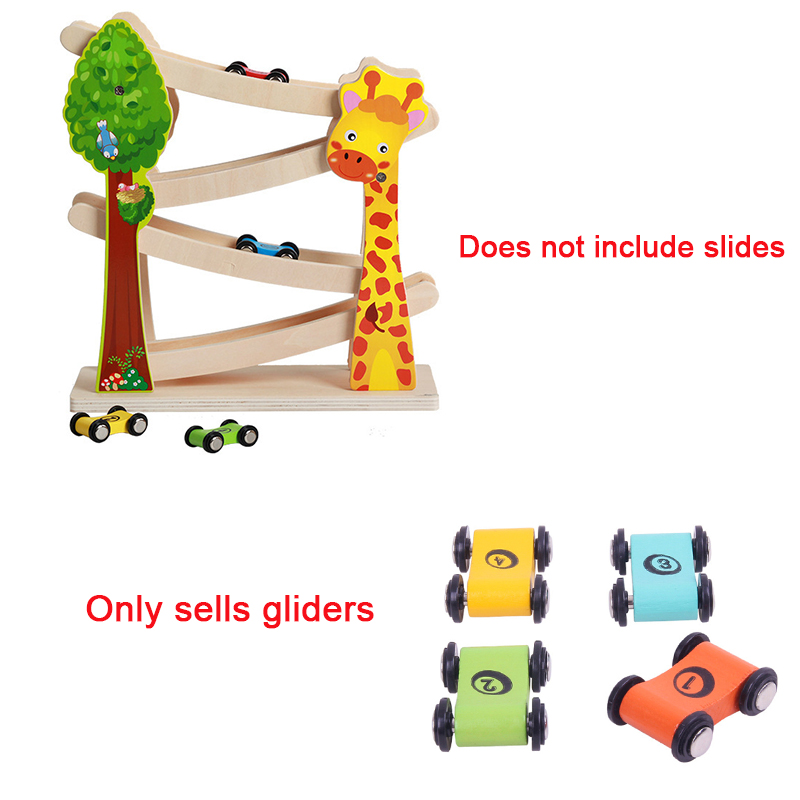 2pcs/set Trolley Toy Mini Wooden Car Toys For Children Slide For Car Track Inertia Pull Back Glider Toy Circuit Voiture Kids Toy