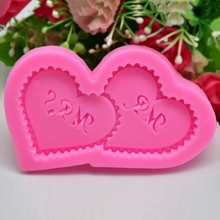 DIY Silicone Mold MR&MRS Double Heart Cake Chocolate Fondant  Baking Decoration Wedding