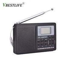 מלא להקת AM/SW/LW/טלוויזיה/FM רדיו קול מלא תדר מקלט קבלת FM רדיו עם תזמון שעון מעורר נייד רדיו שחור
