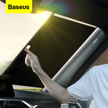 Baseus RetractableรถกระจกบังแดดSun Shade ProtectorกระจกSun Blindฝาครอบด้านหน้าอัตโนมัติรถหน้าต่างป้องกัน