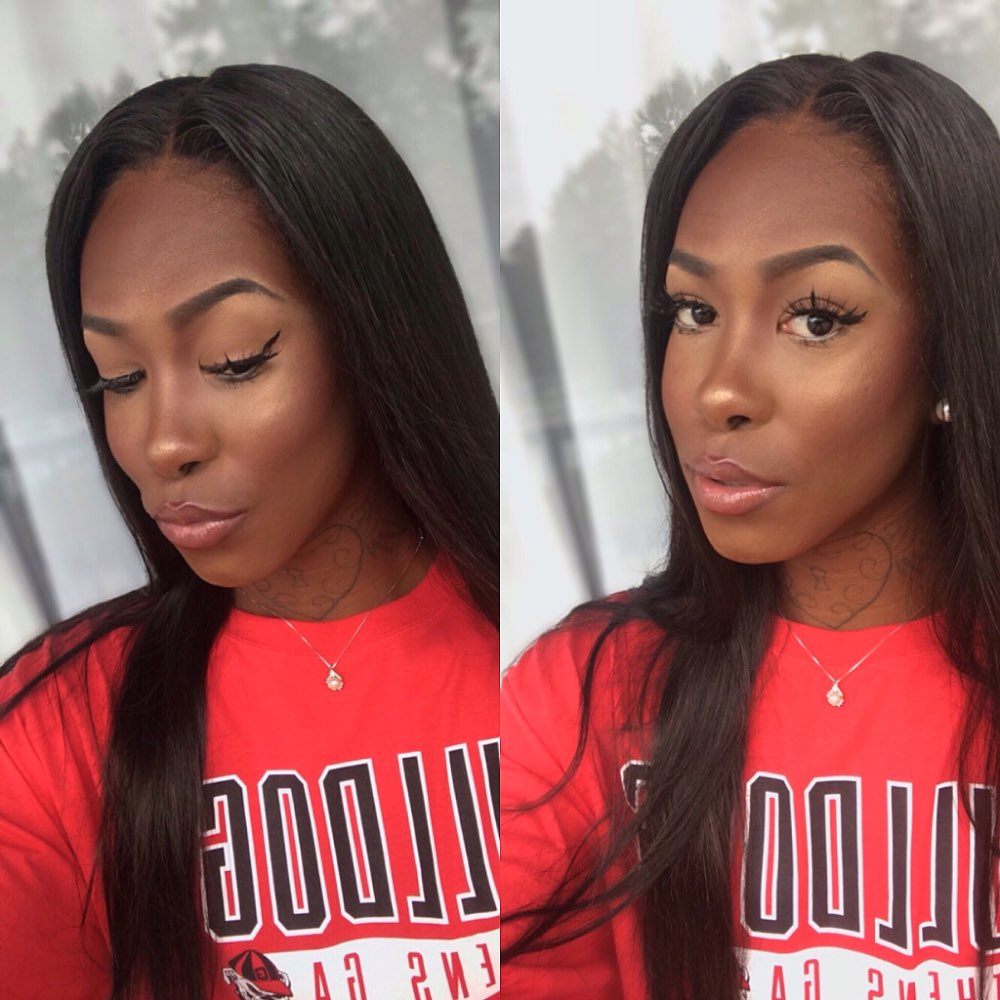 FAVE 4X4 Lace Front Straight Human Hair Wigs Middle Part Natural Black Glueless Brazilian Lace Closure Wigs For Black Woman