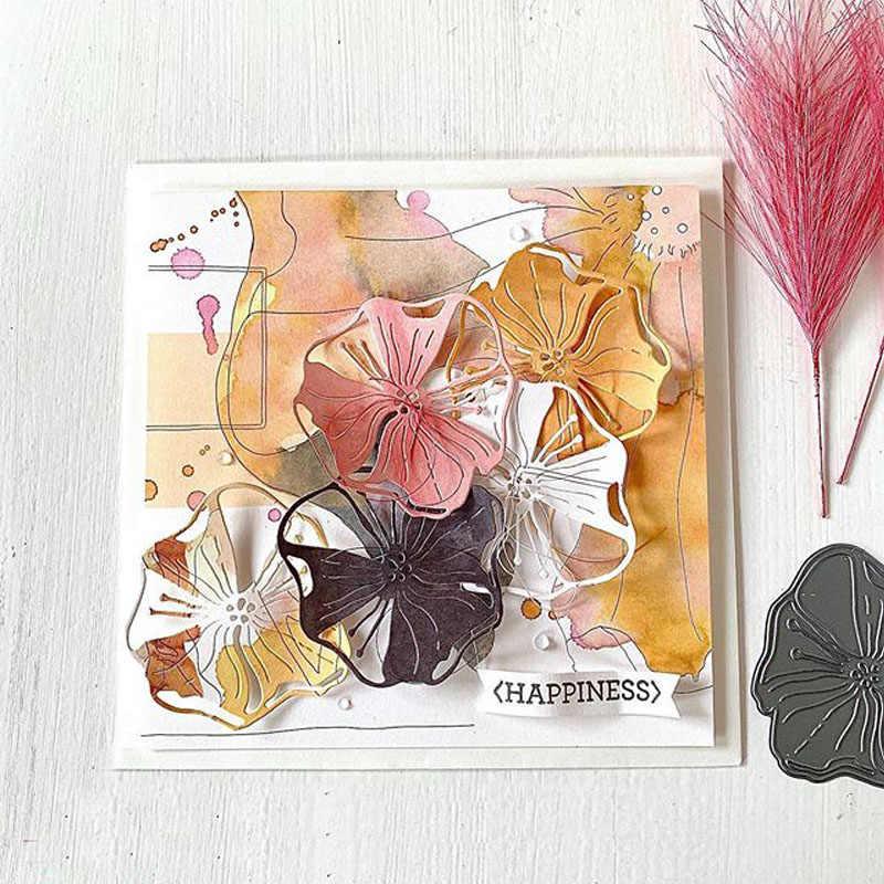 Matryce do cięcia metalu otwarty kwitnący kwiat foremki do wycinania formy notatnik robienie kartek papierowe rzemiosło forma do noża ostrze noża nowy 2020