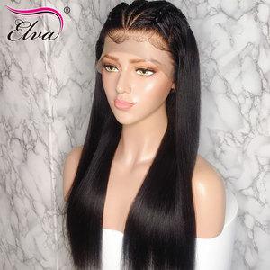 Image 3 - Elva שיער 370 תחרה פרונטאלית פאה מראש קטף מזויף קרקפת פאה ישר 13x6 תחרה מול שיער טבעי פאות עבור שחור נשים רמי שיער פאה