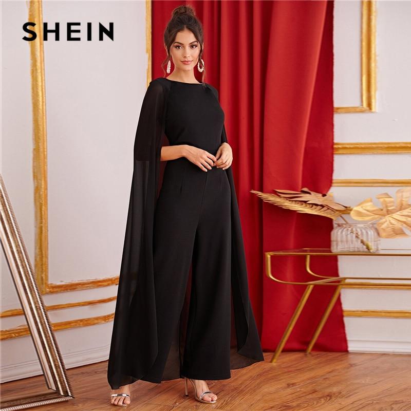 SHEIN Black Keyhole Back Cape Palazzo Maxi Jumpsuit Women Autumn Sleeveless Wide Leg Solid Abaya Party Glamorous Jumpsuits 2