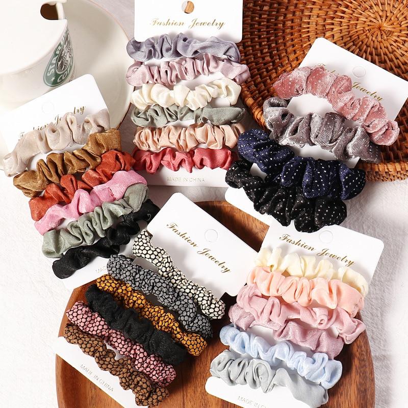 3/6 PCS/Set Satin Velvet Scrunchies Pack Fashion Hairbands Hair Tie For Women Hair Accessories Stretch Ponytail Holders Scrunchy