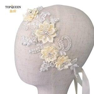 Image 3 - TOPQUEEN H346 Mode Bruids Haar Accessoires Voor Vrouwen kant Bloem met kralen Parel Haarband Bruid Hoge Kwaliteit Haar Sieraden