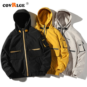 Covrlge Autumn New Jacket Mens Street Trend INS Hooded Loose Casual Multi-pocket MWJ199