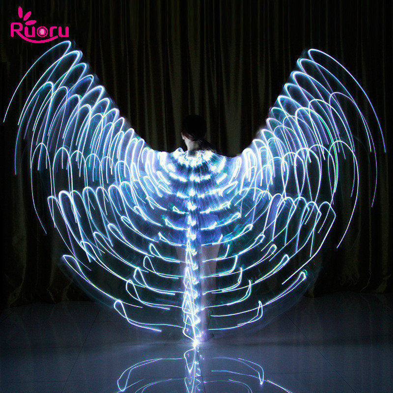 Ruoru Belly Dance Led Isis Wings Carnaval Adult Belly Dance Angle Wings Costume Egypt Belly Dance Wing With Adjustable Sticks