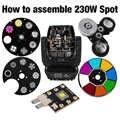 스팟 230 w 이동 헤드 라이트 부품 컬러 고보 휠 led 칩 프리즘 shehds