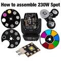 Ponto 230 w movendo a cabeça luzes peças cor gobo roda led chips prisma shehds