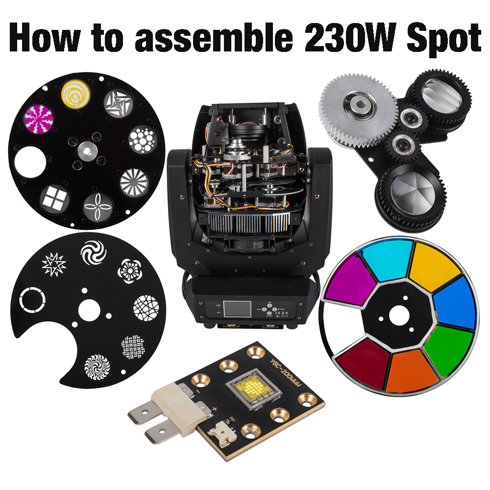 Spot 230W Moving Head Lights Parts Color Gobo Wheel LED Chips Prism SHEHDS